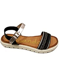 Oh my Sandals - Sandalias plana de mujer - Negro y plomo - 3698