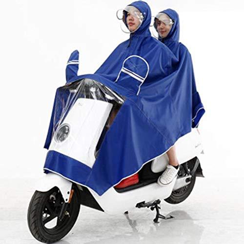 WQING Doppelter Regenmantel erhöht Verdickung Motorrad Elektroauto Erwachsener Oxford Tuch Poncho, Blue,XXXL