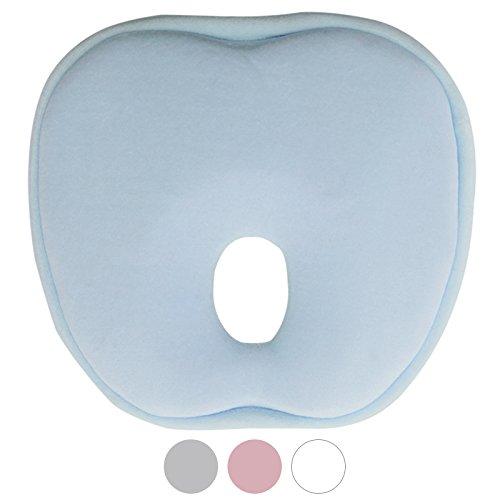 Monsieur Bébé Coussin de maintien anti tête plate à mémoire de forme hypoallergénique - Quatre coloris - Norme CE - Bleu