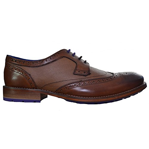 Ted Baker Cassiuss 3 9-12995 uomo Laced Leather Derby Brogue Shoes Tan - 7