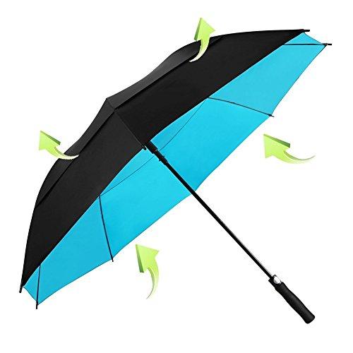 KOLER Golf Regenschirm Winddicht 158 cm Übergröße, Doppelt Bespannter Schirm, Auf zu Automatik, Wasser & Sonnenfest, Extra Großer Stockschirm (Fall Einsteigen)