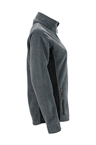JAMES & NICHOLSON Femme Veste polaire durable en tissu mixte carbone/noir