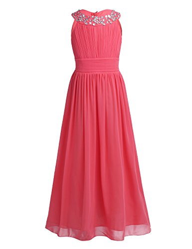 hen Kleid festlich Lange Brautjungfern Kleider Hochzeit Blumensmädchenkleid Prinzessin Party Kleid Gr. 104-164 (152, Erdbeer rot) (Festliche Kleider Für Kinder)