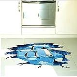 HHZDH Adesivi per Pavimenti Pinguini Adesivi per Animali della Pista Glaciale per La Decorazione della Toilette