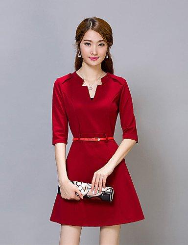 PU&PU Robe Aux femmes Gaine Sexy,Couleur Pleine Col en V Au dessus du genou Coton / Polyester RED-XL