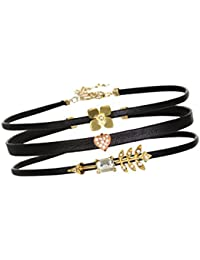 """Young & Forever """"Trendsetter Collection"""" Dreams Do Come True Flower Heart And Arrow Choker Necklace (Set Of 3)..."""