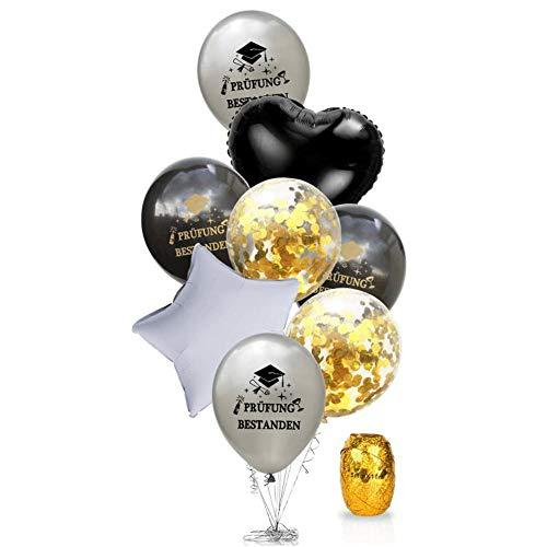 Oblique Unique® Konfetti Folien Luftballon Set Prüfung bestanden für Schulabschluss Abi Abitur Studium Führerschein Abschluss + Herz Stern Ballon - Silber Schwarz Gold Weiß
