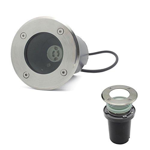 BAODE LED Bodeneinbaustrahler GU10 Strahler Leuchte Spotleuchte Durchschleifen(Rund ohne Leuchtmittel;1x Pack)