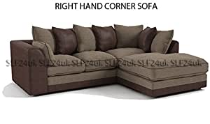 Porto Byron Jumbo Cord Corner Sofa & Faux Leather Fabric -Beige & Brown- Left or Righ Hand (choice) (Right Hand Corner)