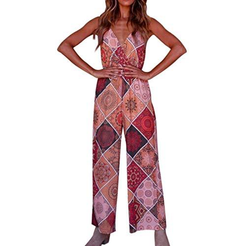 ZHRUI Sommer Boho Red Jumpsuits für Frauen Damen, Günstige Culotte Floral Breites Bein Jersey Strappy Bandeau Camis Top Maxi Lange Gelegenheit Casual Shorts (Farbe : Rot, Größe : XL UK 12-14)