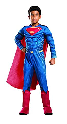 """Batman v Superman Costume, Kids Deluxe Superman Outfit, Medium, Age 5 - 7 years, HEIGHT 4' 2"""" - 4'"""