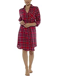 5a15fe3ced Foxbury Ladies 3 4 Sleeve Brushed Cotton Check Nightshirt