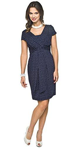 *2in1 elegantes und bequemes Umstandskleid / Stillkleid, Modell: Blufi, dunkelblau-weiss, M*