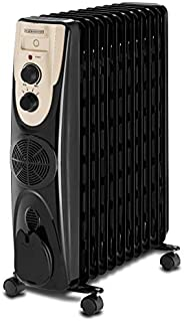 Black+Decker 2500W 11 Fin Oil Radiator Heater with Fan Forced, Black - OR011FD-B5, 2 Years Warranty