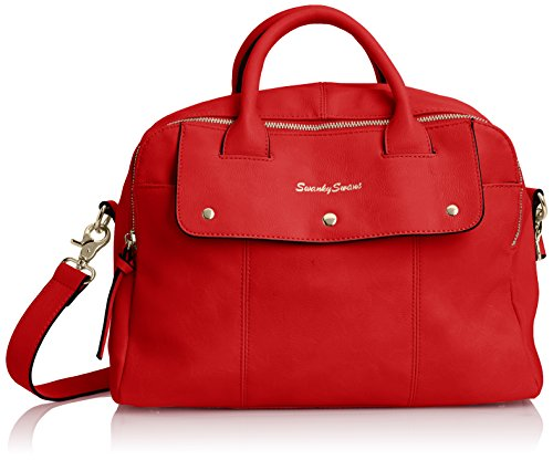 SwankySwansCarla Pu Leather Double Zip Smart - Borsa Tote donna Red (Red)