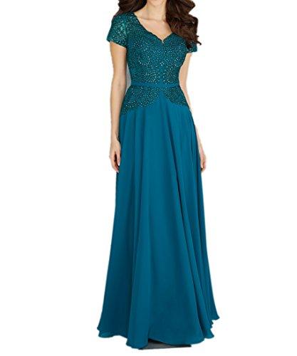 La_Marie Braut weinrot Chiffon Spitze Kurzarm Brautmutterkleider Abendkleider Langes Etuikleider Festlich Damen Dunkel Blau