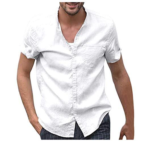 ZHANSANFM Leinenhemd Herren Kurzarm V-Ausschnitt Hemd Sommer Leicht Button Down Regular Fit Henley Freizeithemd(LWeiß-3