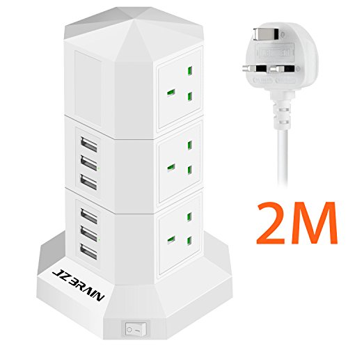 JZBRAIN 6 USB Charging Ports Surge Protection 6 Way Socket Extension Lead Tower Power Strip with 2M Extension Cord and Switch (White) Test