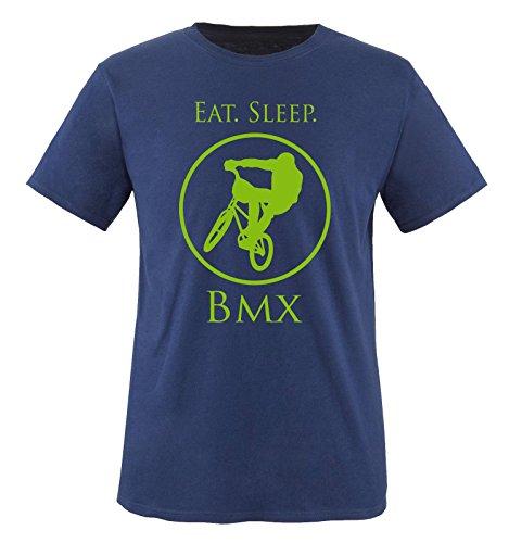 Comedy Shirts - EAT. Sleep. BMX - Kinder T-Shirt - Navy/Grün Gr. 152-164