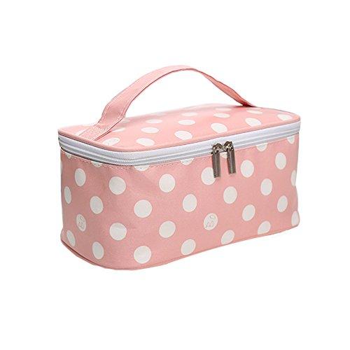 Znvmi Polyester Kulturtasche Reise Waschtasche mit Tragegriff Toilettentasche Make Up Tasche Kosmetiktasche Für Damen Mädchen - Polka Dot Rosa (Rosa Polka Dot Tasche)