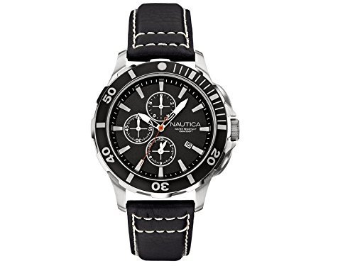 NAUTICA Armbanduhr BFD 101 DIVE STYLE Chrono Black and Leather and Alu A20109G