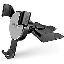 Soporte Móvil Coche, UGREEN Soporte Teléfono Universal para Ranura CD, Soporte de Coche Automático Ajustable por Gravedad para iPhone X/ 8Plus/ 8/ 7, One Plus 3/ 5T, Samsung S8/ S8 Plus, Sony y GPS - Negro