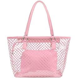 chenpaif Bolsa de Mano Transparente de PVC Bolsa de asa Impermeable Bolso de asa de Lunares Bolsa de Playa de Color Caramelo Hembra con Bolsa Interior Cremallera Rosa