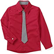 OCHENTA Boys' Long Sleeve Solid Formal Cotton Twill Dress Sh