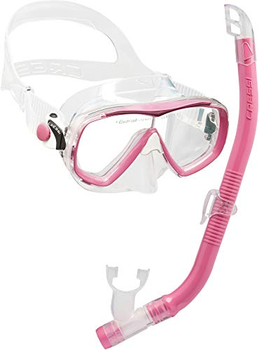 Cressi Set Estrella VIP Jr Kit de Snorkeling, Unisex niños, Transparente/Rosa, Uni