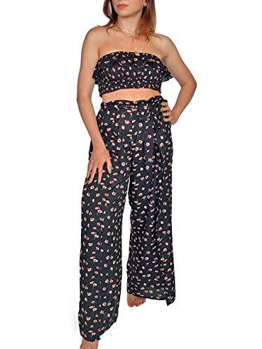 Aarzoo Damen Strandmode Ditsy Blumendruck Sommerkoord mit Gerafftem Bandeau Crop Top und Breiter Beinschnürung Taille Hose Passendes Set (8, Crop Top) -