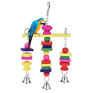 AUOKER Parrot Toys, Large Parrot Chew Toy for Bird Macaw African Greys Cockatoo Eclectus Budgies Parakeet Cockatiel Conure Lovebirds Cage Wood Toy