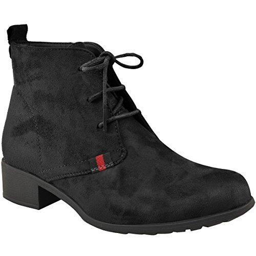 Damen Ankle Boots mit flachem Absatz - Schnürschuhe - bequem für das Büro - Schwarz Veloursleder-Imitat - EUR 37