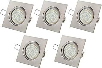 ultra flach led einbaustrahler tolles design warmwei 3 5w 230v edelstahl optik eckig schwenkbar. Black Bedroom Furniture Sets. Home Design Ideas