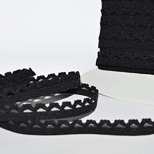 Designers-factory picot elastico nero, larghezza 1cm-nastro elastico lingerie, par 5 mètres