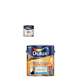 Dulux Quick Dry Gloss Paint, 750 ml (White) with Easycare Washable and Tough Matt (Egyptian Cotton)