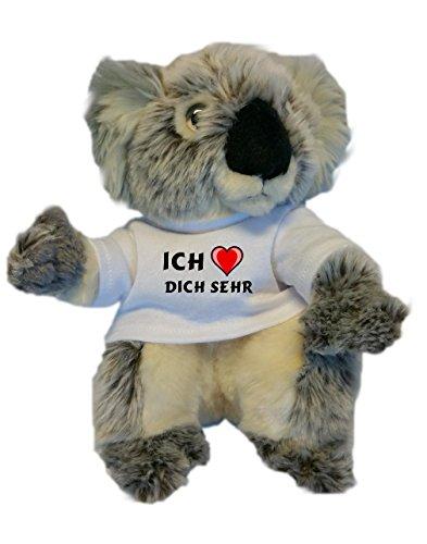 Personalisierter Koala Plüsch Spielzeug mit T-shirt mit Aufschrift Ich liebe dich sehr