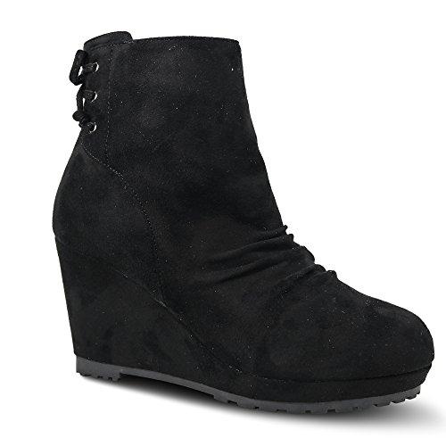 Damen Stiefeletten mit Keilabsatz Boots Stiefel High Heels ST875 Schwarz