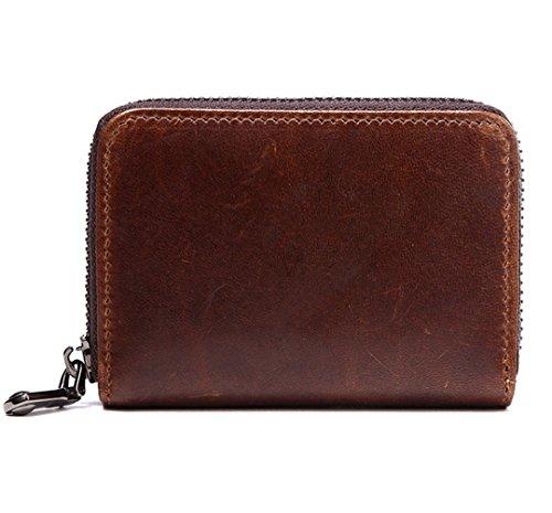 Edmen Echtleder Geldbörse mit RFID Schutz Funktion, Kreditkartenhüllen für 12 Kartenfächer mit ID Fenster (Braun) (Card Id-money Clip Case)