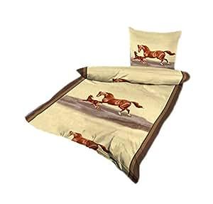 bettw sche mikrofaser bettbezug 2 teilig 135x200 155x220 muster farbwahl pferde braun beige. Black Bedroom Furniture Sets. Home Design Ideas