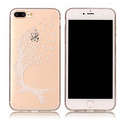 iPhone 7 Plus Custodia, Fiore Nero Cartoon Case Pittura Pattern Morbido TPU Cover Silicone Gomma Gel Crystal Transparent Clear Ultra sottile iPhone 7 Plus copertura, Graffi Prova # # 10