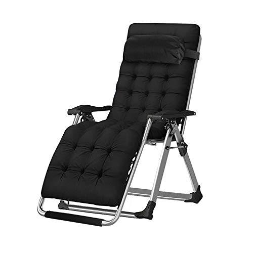 Fh sedia a sdraio, letto singolo siesta per uso ospedaliero spiaggia reclinabile pieghevole per esterno da spiaggia, nera (colore : b (plus cotton))
