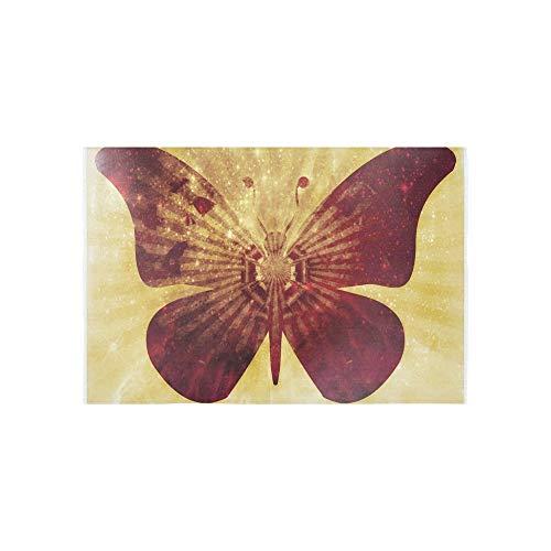 YSJXIM Wandteppich Schmetterling Insekten Sepia Grafikdesign Dekorative Wandbehang Blume Psychedelic Wandbehang Indische Wohnzimmer-Dekoration für Wohnzimmer Schlafzimmer 152,4 x 101,6 cm
