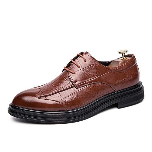 Cotangle Männer Kleid Schuh Oxford PU-Leder-Schuhe Gemütliche, weiche, rutschfeste, Flache Schnürschuhe mit runder Kappe und niedrigem veganen Business-Kleid für die Partnersuche