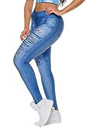 43c94f1bb Wiltson Las mujeres delgadas de imitación falso falso rasgado Jeans  Leggings Estrellas Moda Fitness Yoga Pantalones