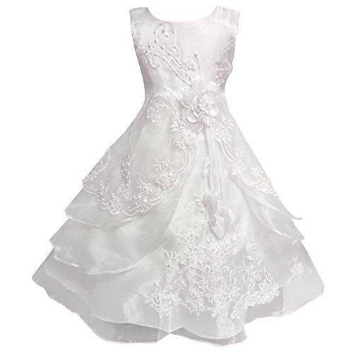 dchen Blumen besticktes Kleid lagig Formell Hochzeit Party Brautjungfer Schulballkleid Kleider - Weiß, 9-10 Years ()