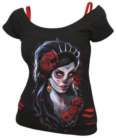 spiral-haut-2-en-1-effet-dechire-pour-femme-motif-day-of-the-dead-noir-rouge-moyen