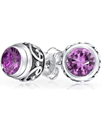 Bling Jewelry Amethyst Sterling Silver Stud Earrings style Bali de pierre gemme