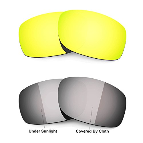 HKUCO 24K Gold/Transition/Photochromic Polarized Replacement Lenses For Oakley Fives Squared Sunglasses