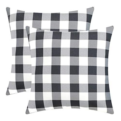 Sunfay 2er Set Dekorative Polyester Kissenbezug für Sofa Bett Schlafzimmer Kariert Geometrie Gitter Dekokissen Kissenhülle 45 x 45 cm Grau