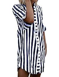 Tops Ladies Half Sleeves Blusa A Rayas para El Verano Ropa Otoño Elegante Moda Ocio Camisas